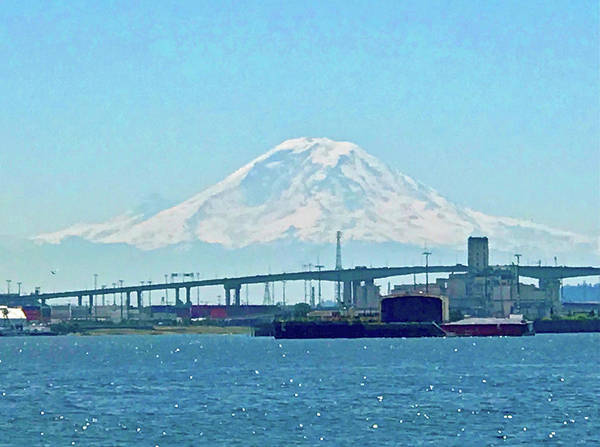 Photograph - Mount Rainier From Seattle Harbor by Don Mercer