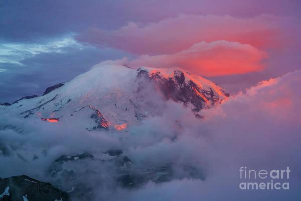 Wall Art - Photograph - Mount Rainier Lenticular Cloud Sunset Light by Mike Reid