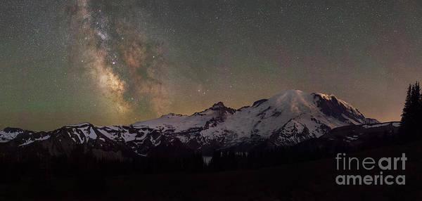Photograph - Mount Rainier Milky Way Pano by Michael Ver Sprill