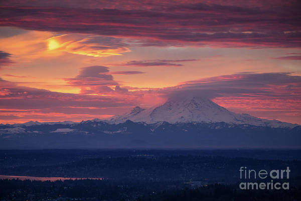 Seattle Skyline Photograph - Mount Rainier Morning Fire by Mike Reid