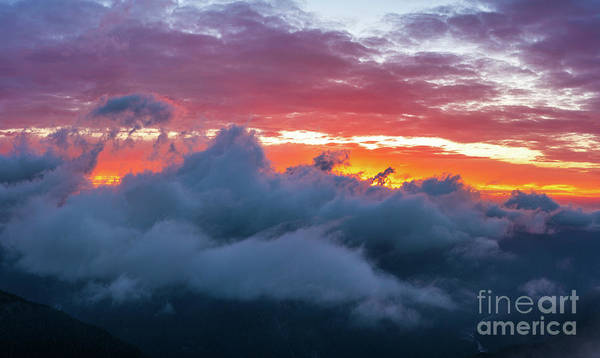 Wall Art - Photograph - Mount Rainier National Park Above The Clouds At Sunset by Mike Reid