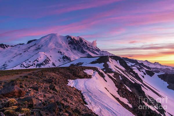 Wall Art - Photograph - Mount Rainier National Park Second Burroughs Sunset Landscape by Mike Reid