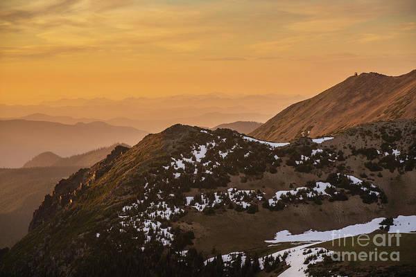 Wall Art - Photograph - Mount Rainier National Park Sunset Layers Past Fremont Lookout by Mike Reid