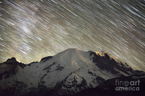 Photograph - Mount Rainier Star Trails  by Michael Ver Sprill
