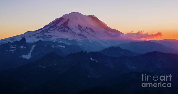 Wall Art - Photograph - Mount Rainier Sunset From Above by Mike Reid