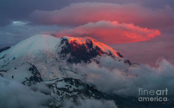 Wall Art - Photograph - Mount Rainier Sunset Lenticular Fire by Mike Reid