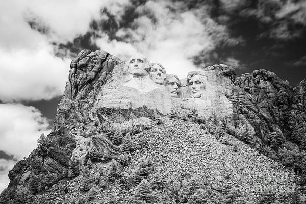 Photograph - Mount Rushmore Black And White by Bryan Mullennix