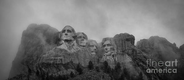 Rushmore Photograph - Mount Rushmore Break In The Clouds Pano Bw by Michael Ver Sprill