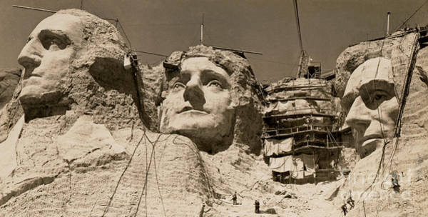 Rushmore Photograph - Mount Rushmore Construction  by American School