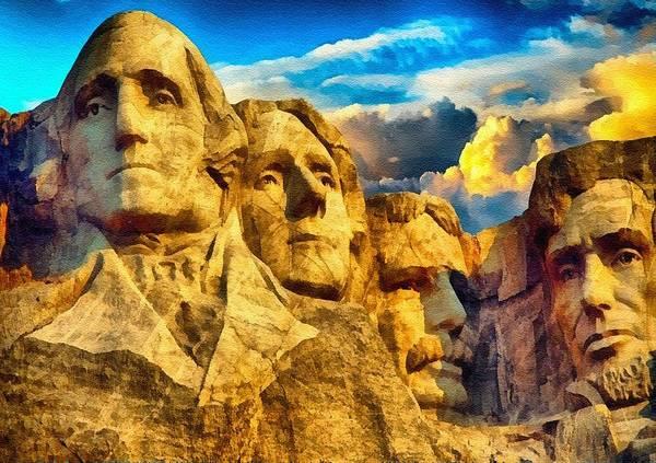 Wall Art - Digital Art - Mount Rushmore L B by Gert J Rheeders