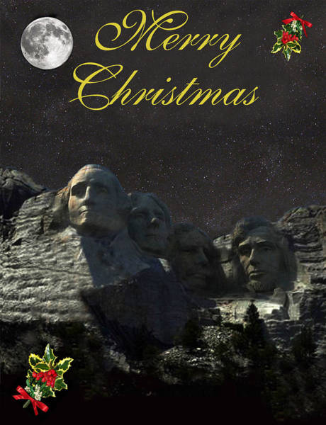 Mount Rushmore Merry Christmas Art Print