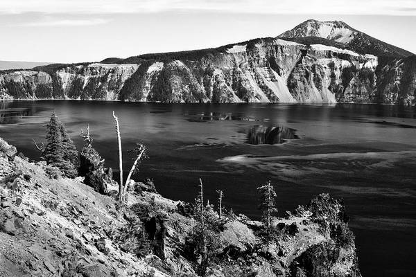 Photograph - Mount Scott Behind Crater Lake B W by Frank Wilson
