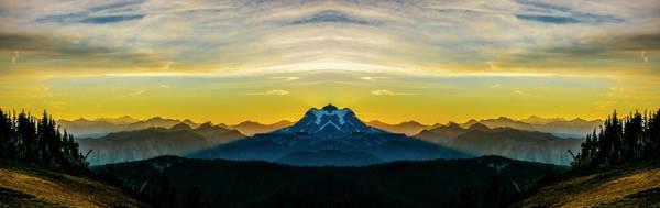 Divided Photograph - Mount Shuksan Sunrise Reflection 2 by Pelo Blanco Photo
