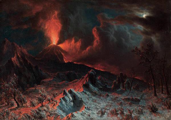 Ashes Painting - Mount Vesuvius At Midnight by Albert Bierstadt