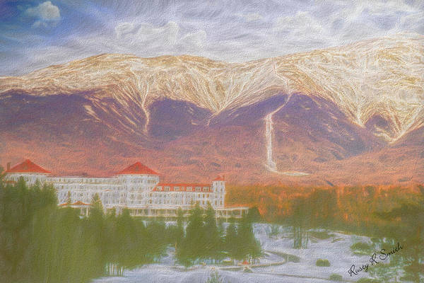 Digital Art - Mount Washington Hotel, Mountain In The Background by Rusty R Smith
