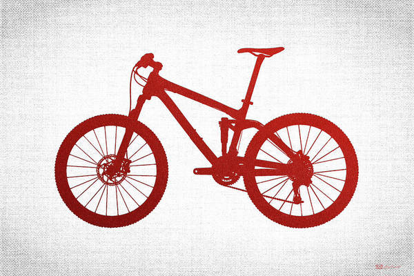 Digital Art - Mountain Bike Silhouette - Red On White Canvas by Serge Averbukh