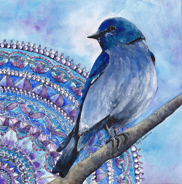 Wall Art - Painting - Mountain Bluebird   Zen Birds Series Number 1 by Susy Soulies