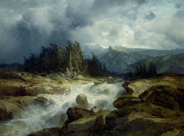 Painting - Mountain By Storm Torrent by Alexandre Calame