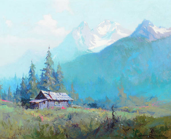 Wall Art - Painting - Mountain Cabin, Alaska by Sydney Mortimer Laurence