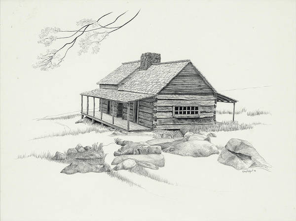 Homestead Drawing - Mountain Cabin by Nancy Hilgert