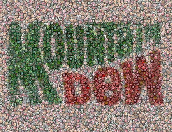 Soda Pop Mixed Media - Mountain Dew Bottle Cap Mosaic by Paul Van Scott