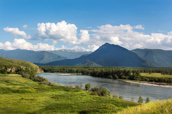 Photograph - Mountain Filaretka Over Katun River. Altay by Victor Kovchin