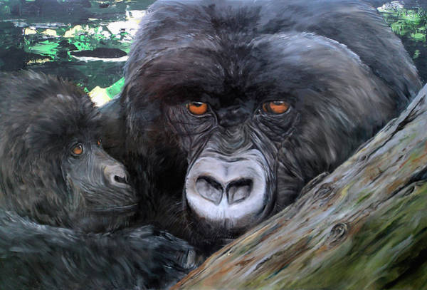 Baby Gorilla Painting - Mountain Gorillas by Becky Brooks
