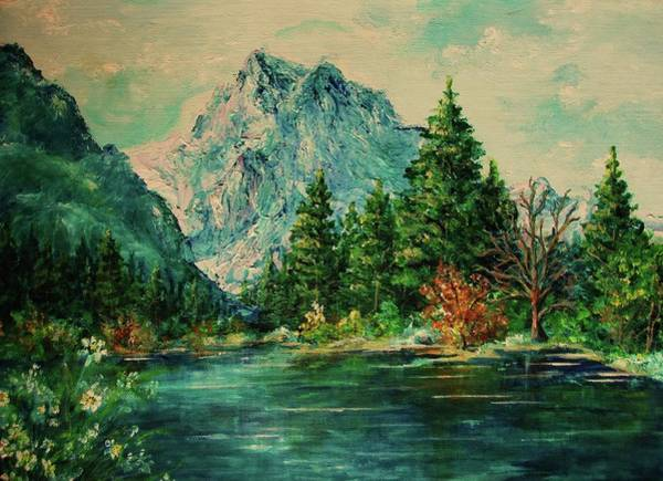 Painting - Mountain Lake by Mary Wolf