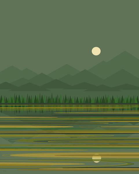 Digital Art - Mountain Lake Moon by Val Arie