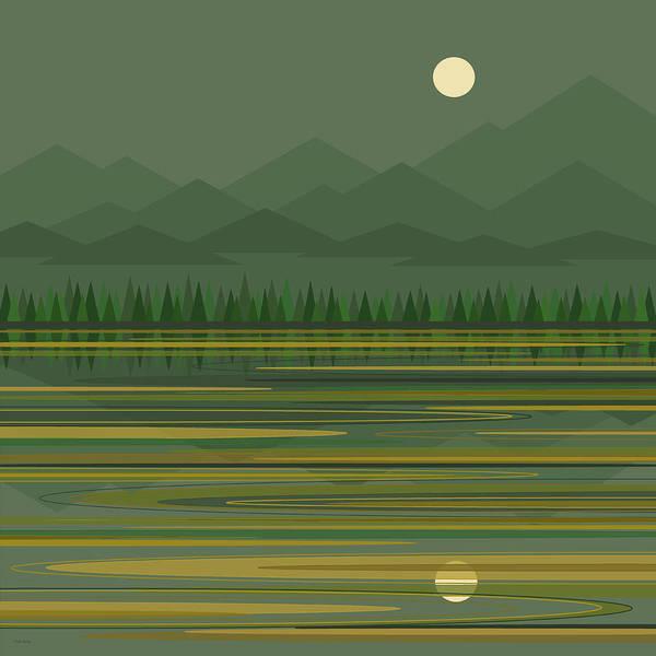 Digital Art - Mountain Lake Moonrise by Val Arie
