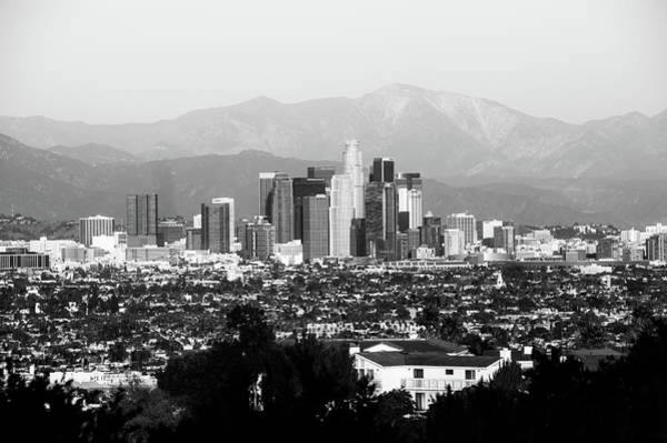 Los Angeles Skyline Photograph - Mountain Landscape And The Los Angeles Skyline - Black And White by Gregory Ballos