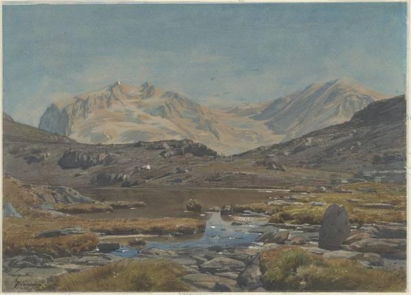 Wall Art - Drawing - Mountain Landscape by Francois-louis Francais