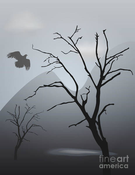 Digital Art - Mountain Landscape With Bird by David Gordon