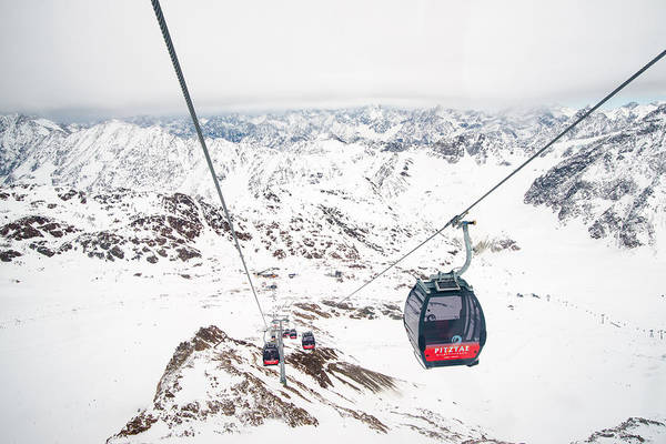 Photograph - Mountain Landscape With Cable Car In Winter by Matthias Hauser