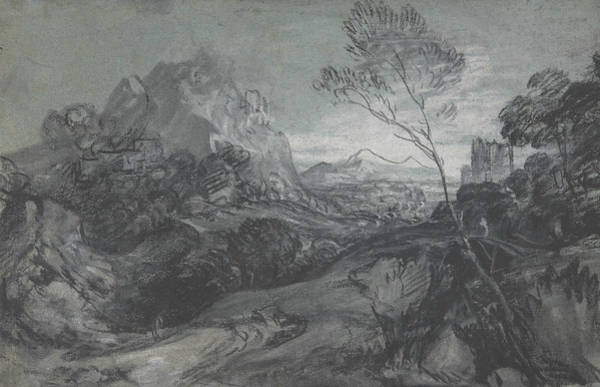 Drawing - Mountain Landscape With Figures And Buildings by Thomas Gainsborough
