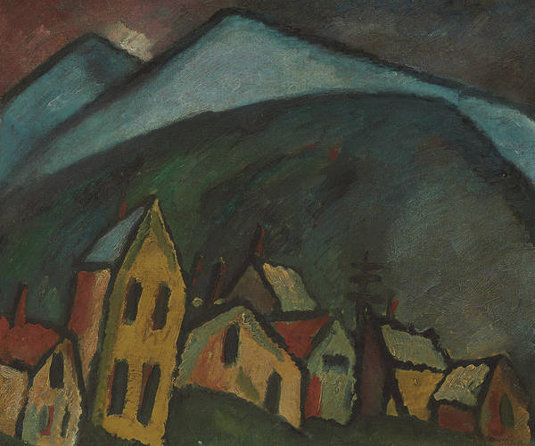 Munich Painting - Mountain Landscape With Houses by Alexej von Jawlensky