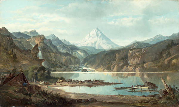 Mountain Lake Painting - Mountain Landscape With Indians by John Mix Stanley