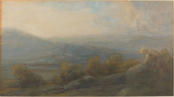 Wall Art - Drawing - Mountain Landscape With Two Figures At The Right by Alphonse Legros