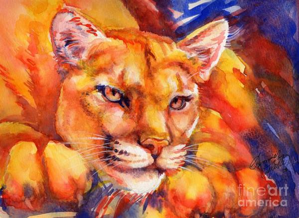 Painting - Mountain Lion Red-yellow-blue by Summer Celeste