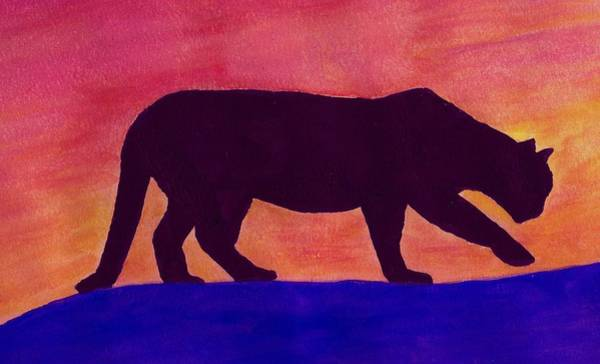 Wall Art - Painting - Mountain Lion Silhouette by Michael Vigliotti