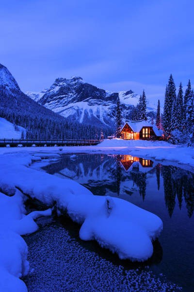 Photograph - Mountain Lodge At Dusk - Vertical by Michael Blanchette