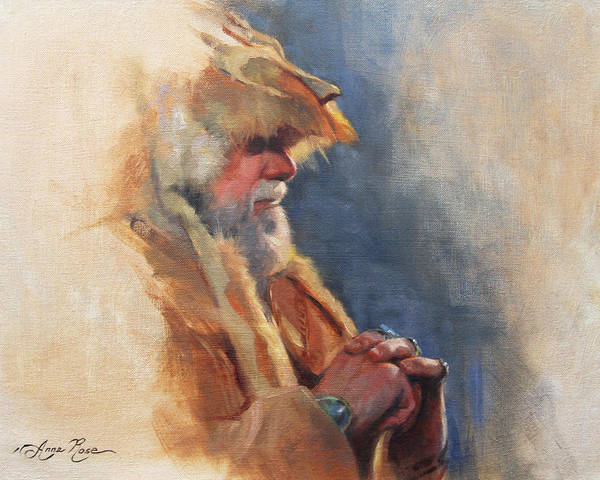 American Indians Painting - Mountain Man by Anna Rose Bain