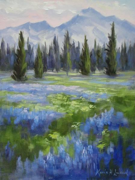 Alpine Meadow Painting - Mountain Meadow by Karin Leonard