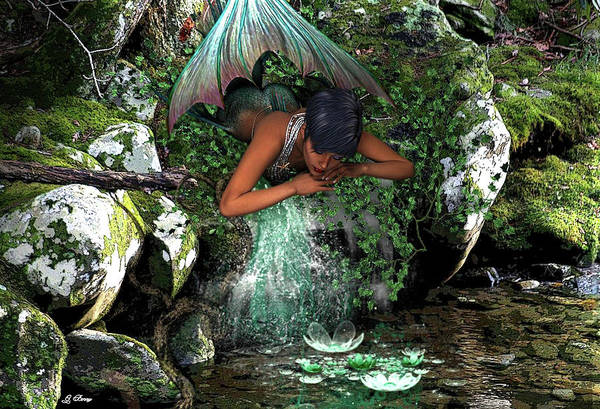Stream Mixed Media - Mountain Mermaid by G Berry