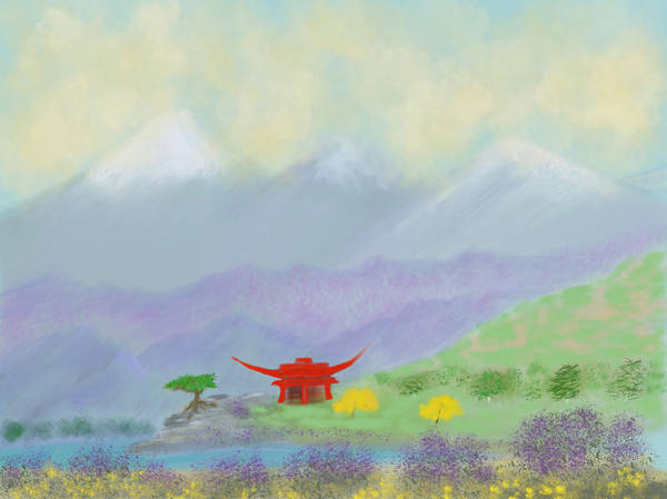Digital Art - Mountain Pagoda by Dick Bourgault