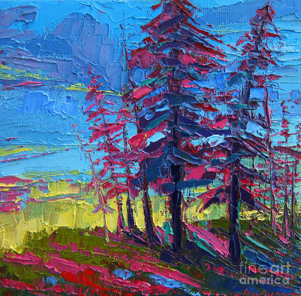 Painting - Mountain Pine Trees Over A Sunset Modern Impressionistic Palette Knife Oil Painting by Patricia Awapara