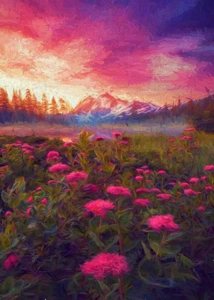 Digital Art - Mountain Pinks by Charmaine Zoe