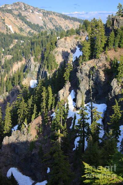 Oregon Ridge Photograph - Mountain Ridges Around Crater Lake by Carol Groenen