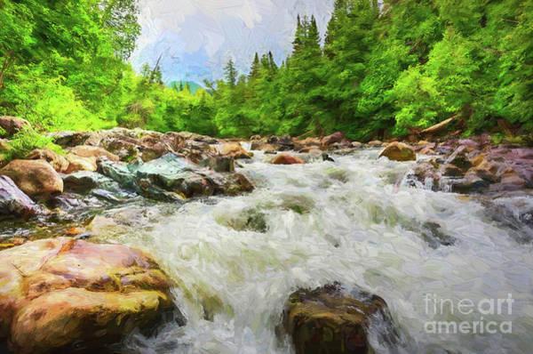 Digital Art - Mountain Stream - Painterly by Les Palenik