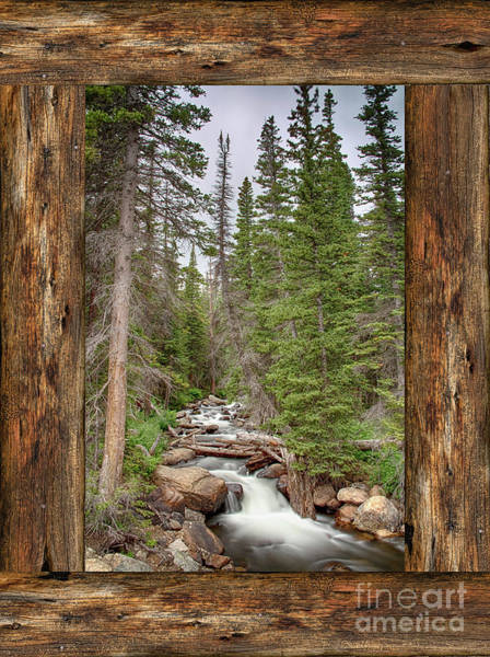Photograph - Mountain Stream Rustic Cabin Window View  by James BO Insogna